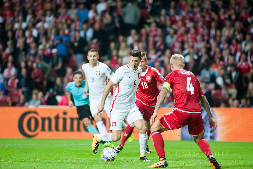 01.09.2017. Copenhagen, Denmark. <br /> Robert Lewandowski (9) during the FIFA 2018 World Cup Qualifier between Denmark and Poland at Parken Stadion.<br /> Photo: © Ricardo Ramirez.