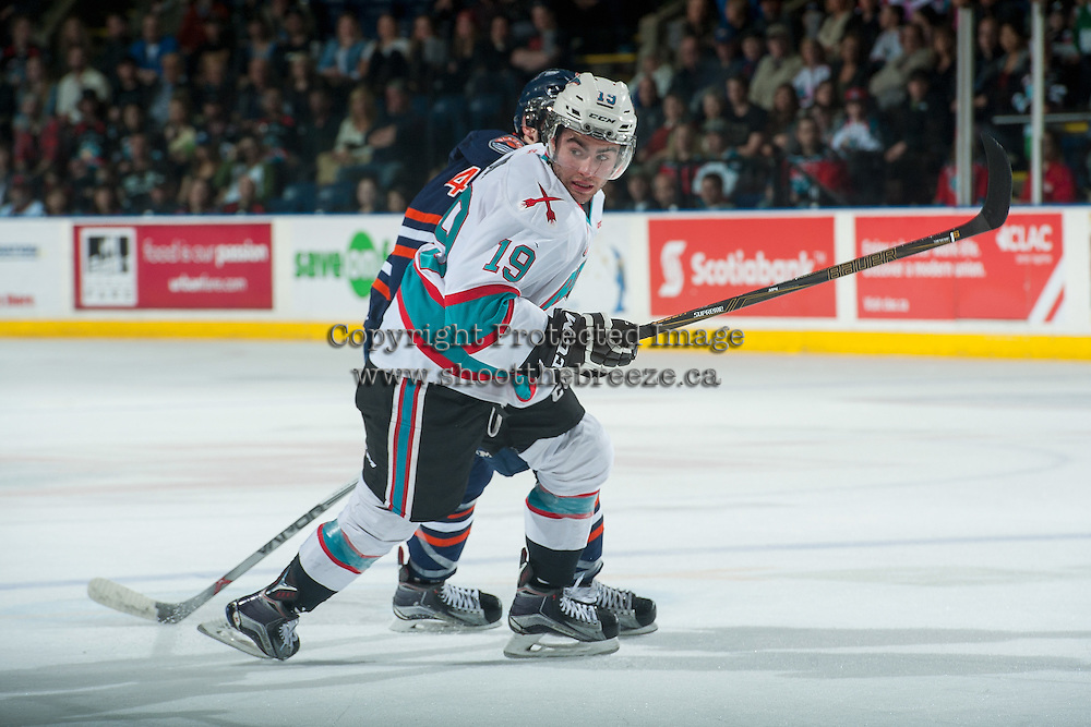 KELOWNA, CANADA - APRIL 1: Dillon Dube #19 of Kelowna Rockets skates against the Kamloops Blazers on April 1, 2016 at Prospera Place in Kelowna, British Columbia, Canada.  (Photo by Marissa Baecker/Shoot the Breeze)  *** Local Caption *** Dillon Dube;