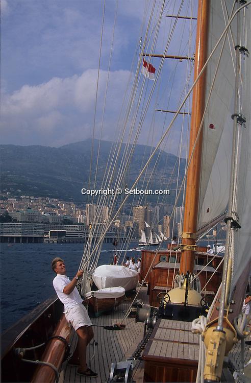 The CREOLE  ship of  - Gucci -  sisters    Monaco        Regate ? bord du Creole, voilier  des soeur  - Gucci - . - Classic week -     Monaco   R00286/81    L004094  /  R00286  /  P0007646