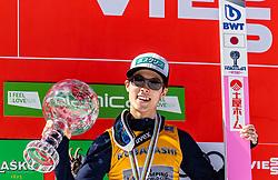 24.03.2019, Planica, Ratece, SLO, FIS Weltcup Ski Sprung, Finale, Weltcup Siegerehrung, im Bild Podium Gesamtweltcup, Gesamtweltcupsieger Ryoyu Kobayashi (JPN) // Overall Worldcup Winner Ryoyu Kobayashi of Japan during the awards ceremony of the FIS Ski Jumping and Ski Flying World Cup 2019. Planica in Ratece, Slovenia on 2019/03/24. EXPA Pictures © 2019, PhotoCredit: EXPA/ JFK