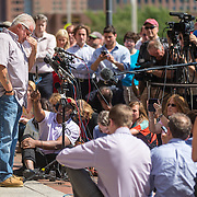 "08/12/2013  BOSTON, MA      Steve Davis (cq) broke down while speaking to the media outside the John Joseph Moakley United States Courthouse (cq) where the verdict was read in the case against James ""Whitey"" Bulger.    (Aram Boghosian for The Boston Globe)"