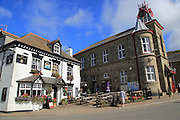 Marazion town hall and King's Head pub in village square , Cornwall, England, UK