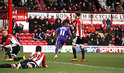 Charlton Athletic midfielder, Callum Harriott (11) scoring in a few minutes to make it 0-1 during the Sky Bet Championship match between Brentford and Charlton Athletic at Griffin Park, London, England on 5 March 2016. Photo by Matthew Redman.