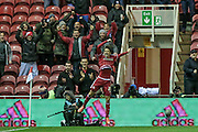 Gastón Ramírez (on loan from Southampton) (Middlesbrough) celebrates scoring the second goal of the game. 2-0 during the Sky Bet Championship match between Middlesbrough and Wolverhampton Wanderers at the Riverside Stadium, Middlesbrough, England on 4 March 2016. Photo by Mark P Doherty.
