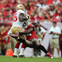 San Francisco 49ers tight end Vernon Davis (85)  runs during an NFL football game between the San Francisco 49ers  and the Tampa Bay Buccaneers on Sunday, December 15, 2013 at Raymond James Stadium in Tampa, Florida.. (Photo/Alex Menendez)