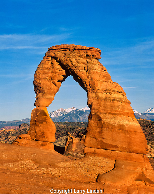 Delicate Arch, snow on La Sal Mountains, Arches National Park, Moab, Utah