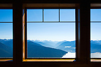 Looking out windows at the Hurricane Ridge Visitors Center at mountains and valleys. Olympic National Park, Washington State, USA.