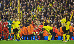 LIVERPOOL, ENGLAND - Thursday, April 14, 2016: Liverpool's match-winner Dejan Lovren celebrates with Alberto Moreno after the dramatic 4-3 (5-4 aggregate) victory over Borussia Dortmund during the UEFA Europa League Quarter-Final 2nd Leg match at Anfield. (Pic by David Rawcliffe/Propaganda)