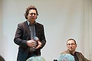 """Vienna, Hauptbuecherei. Presentation of the book """"Aufmarsch: Die rechte Gefahr aus Osteuropa"""" by  Gregor Mayer and Bernhard Odehnal (r.). Herwig Bitsche (l., Director, Residenz Verlag)"""