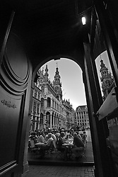 BRUSSELS, BELGIUM - JUNE-12-2006 - View looking out from the main entrance of the famous cafe Le Roy d'Espagne on to the Grand Place in Brussels. (PHOTO © JOCK FISTICK)