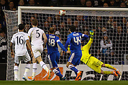 Roman Zozulya of Dnipro Dnipropetrovsk (centre) (18) scores the opening goal during the UEFA Europa League match at White Hart Lane, London<br /> Picture by David Horn/Focus Images Ltd +44 7545 970036<br /> 27/02/2014