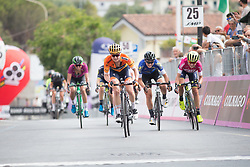 Megan Guarnier (USA) of Boels-Dolmans Cycling Team sprints for thrid on Stage 8 of the Giro Rosa - a 141.8 km road race, between Baronissi and Centola fraz. Palinuro on July 7, 2017, in Salerno, Italy. (Photo by Balint Hamvas/Velofocus.com)