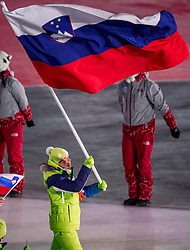 PYEONGCHANG-GUN, SOUTH KOREA - FEBRUARY 09: Flag bearer of Slovenia Vesna Fabjan leads the team during the Opening Ceremony of the PyeongChang 2018 Winter Olympic Games at PyeongChang Olympic Stadium on February 9, 2018 in Pyeongchang-gun, South Korea. Photo by Ronald Hoogendoorn / Sportida