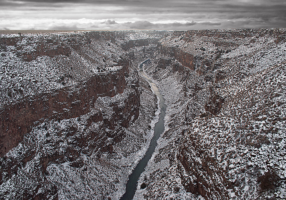 The Rio Grande Gorge in Winter. New Mexico. USA <br />
