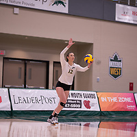 1st year outside hitter Jessica Lerminiaux (12) of the Regina Cougars in action during Women's Volleyball home game on November 3 at Centre for Kinesiology, Health and Sport. Credit: Arthur Ward/Arthur Images