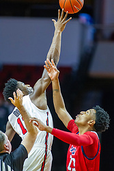 NORMAL, IL - December 18: Rey Idowu gets the tip over Braelen Bridges tossed by Gary Maxwell during a college basketball game between the ISU Redbirds and the UIC Flames on December 18 2019 at Redbird Arena in Normal, IL. (Photo by Alan Look)