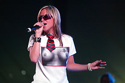 Nicole Appleton, of The Appeltons. Sunday at the King Tuts Hut, T in the Park, 2003..Pic ©2010 Michael Schofield. All Rights Reserved.
