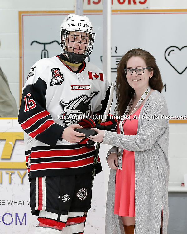 TRENTON, ON  - MAY 4,  2017: Canadian Junior Hockey League, Central Canadian Jr. &quot;A&quot; Championship. The Dudley Hewitt Cup. Game 5 between The Georgetown Raiders and The Powassan Voodoos. Player of the game Award Jack Hughes #16 of the Georgetown Raiders <br /> (Photo by Amy Deroche / OJHL Images)