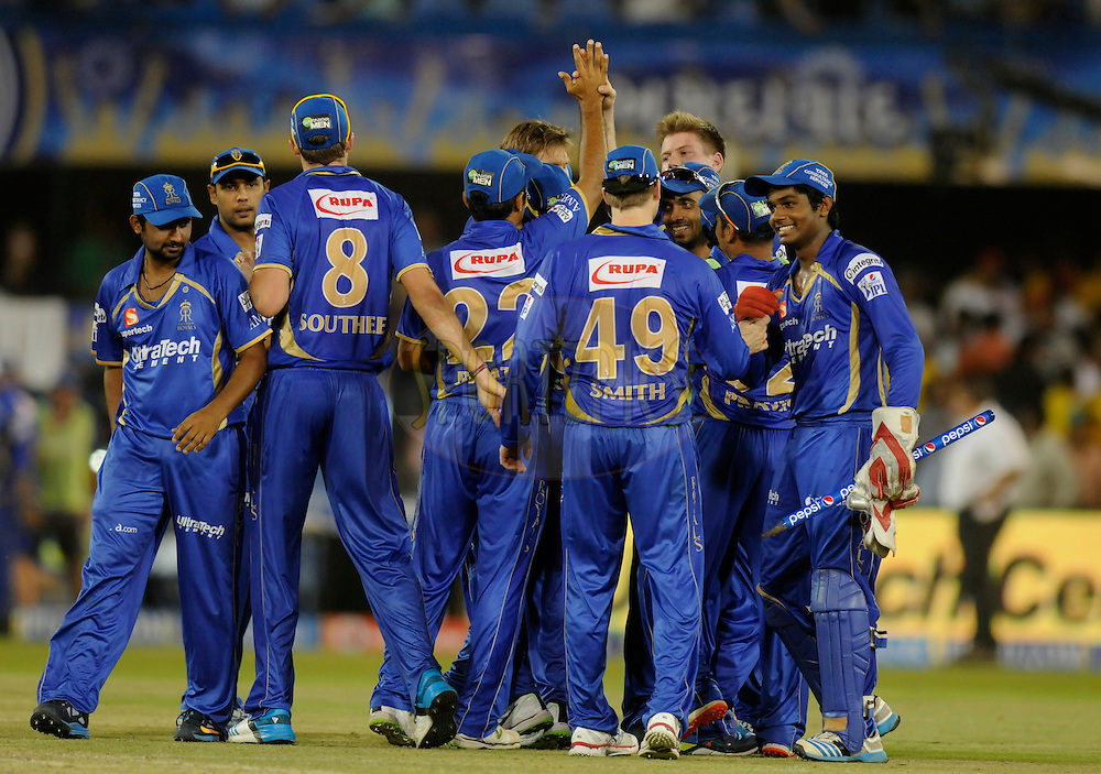 Shane Watson captain of the Rajatshan Royals celebrates with teammates after winning match 25 of the Pepsi Indian Premier League Season 2014 between the Rajasthan Royals and the Kolkata Knight Riders held at the Sardar Patel Stadium, Ahmedabad, India on the 5th May  2014<br /> <br /> Photo by Pal Pillai / IPL / SPORTZPICS      <br /> <br /> <br /> <br /> Image use subject to terms and conditions which can be found here:  http://sportzpics.photoshelter.com/gallery/Pepsi-IPL-Image-terms-and-conditions/G00004VW1IVJ.gB0/C0000TScjhBM6ikg