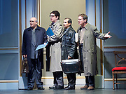 Oslo <br /> by J. T. Rogers <br /> at The Lyttelton Theatre, National Theatre, Southbank, London, Great Britain <br /> press photocall <br /> 8th September 2017 <br /> a Lincoln Centre Theatre Production<br /> <br /> <br /> Peter Polycarpou as Ahmed Qurie <br /> Thomas Arnold as Pundak <br /> Nabil Elouahabi as Hassan Asfour<br /> Paul Herzberg as Yair Hirschfeld <br /> <br /> <br /> <br /> <br /> <br /> <br /> <br /> directed by Bartlett Sher<br /> Michael Yeargan - set design <br /> Catherine Zuber - Costume design <br /> Donald Holder - Lighting design <br /> Photograph by Elliott Franks <br /> Image licensed to Elliott Franks Photography Services