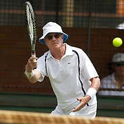 Clem Hopp, USA, in action in the 80 Mens Singles during the 2009 ITF Super-Seniors World Team and Individual Championships at Perth, Western Australia, between 2-15th November, 2009.
