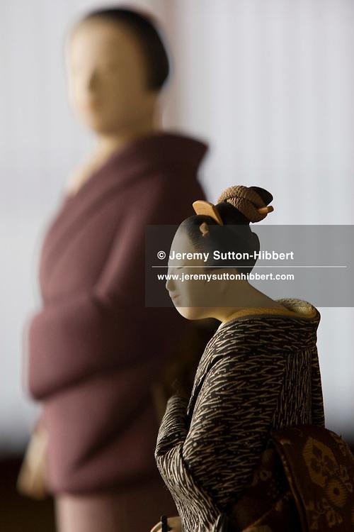 Kinya Meada, born 1929, renowned maker of Kimekomi dolls, at his home in Kamakura,  Japan, Wednesday 5th November 2008..