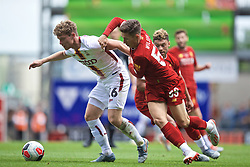 BRADFORD, ENGLAND - Saturday, July 13, 2019: Liverpool's Harry Wilson (R) and Bradford City's Matt Palmer during a pre-season friendly match between Bradford City AFC and Liverpool FC at Valley Parade. (Pic by David Rawcliffe/Propaganda)  BRADFORD, ENGLAND - Saturday, July 13, 2019: Liverpool's xxxx during a pre-season friendly match between Bradford City AFC and Liverpool FC at Valley Parade. (Pic by David Rawcliffe/Propaganda)