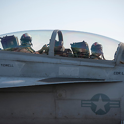 USS John C Stennis CVN-74 Aircraft Carrier.Pic Shows F-18 Hornet waiting for take-off