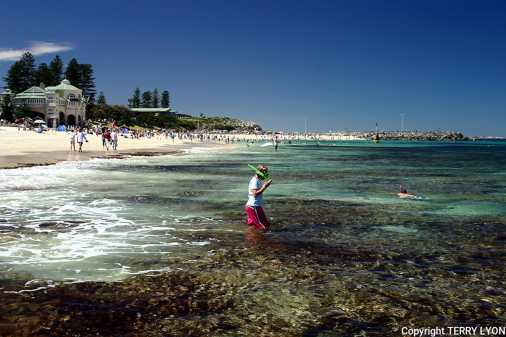 A young boy going snorkeling on the reef at Cottesloe Beach.