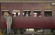 people on train, India