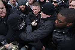 "© Licensed to London News Pictures . 18/03/2018 . London , UK . Alt-right groups , including Generation Identity , and antifascist opponents , demonstrate at Speakers' Corner in Hyde Park where Tommy Robinson is to read a speech by Generation Identity campaigner Martin Sellner . Along with Brittany Pettibone , Sellner was due to deliver the speech last week but the pair were arrested and detained by police when they arrived in the UK , forcing them to cancel an appearance at a UKIP "" Young Independence "" youth event , which in turn was reportedly cancelled amid security concerns . Photo credit: Joel Goodman/LNP"