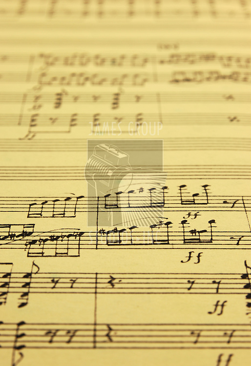 hand written music manuscript with selective focus