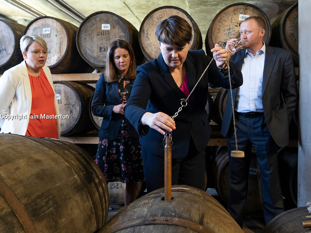 Doune,  Scotland, UK. 15 May 2019. Scottish Conservative Leader Ruth Davidson MSP visits Deanston Distillery in Doune on a European Election visit. During the visit she sampled some of the distiller's whiskies.