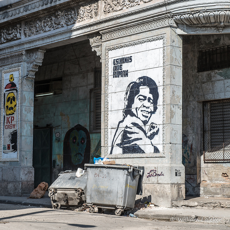 """James Brown and the plea to """"*Keep Planet Clean"""" is depected in Graffiti with trash in the foreground"""