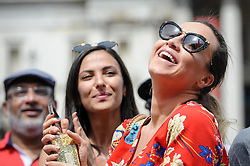 © Licensed to London News Pictures. 23/06/2018. LONDON, UK.  People celebrate the EID Festival in Trafalgar Square, an event hosted by The Mayor of London.  The Mayor's festival takes place in the square one week after the end of Ramadan and includes a variety of stage performances and cultural activities.  Photo credit: Stephen Chung/LNP
