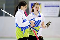 Ana Smolej and Patricija Cerne of Slovenia during curling match between National teams of Slovenia and Lithuania in 6th Round of European Curling Championship on April 29, 2016 in Ledena dvorana Zalog, Ljubljana, Slovenia. Photo By Urban Urbanc / Sportida
