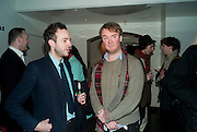 PATRICK KENNEDY; NATHANIEL MELLORS, Ourhouse Nathaniel Mellors opening. ICA. The Mall. London. 8 March 2011. -DO NOT ARCHIVE-© Copyright Photograph by Dafydd Jones. 248 Clapham Rd. London SW9 0PZ. Tel 0207 820 0771. www.dafjones.com.