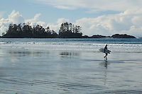 Chesterman Beach, near Tofino, BC Canada, approximately 3 kilometers of white sand and scattered rock outcroppings, is a West Coast Surf spot.