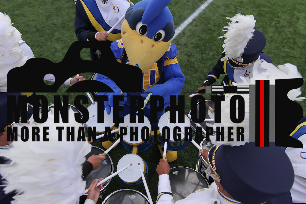 Delaware mascot UDEE plays with the snare line prior to a Week 6 NCAA football game against Maine University.