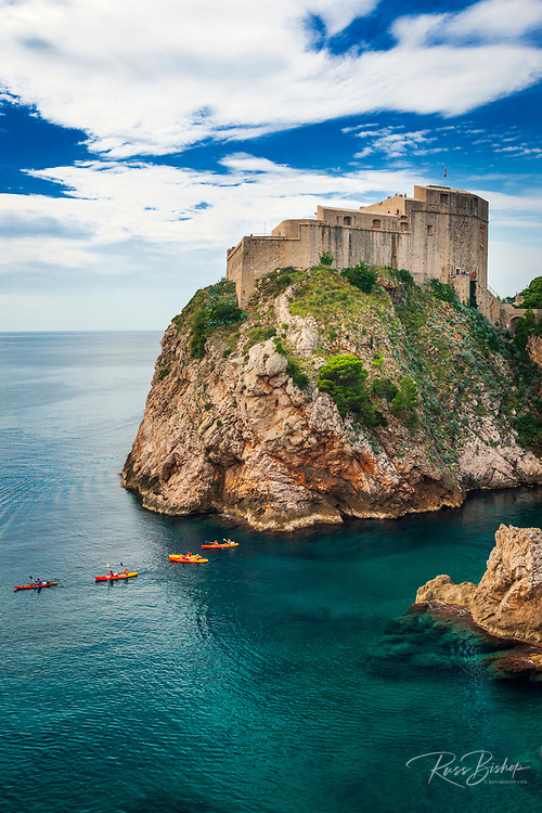 Lovrijenac Fortress and kayaks on the blue Adriatic, old town Dubrovnik, Dalmatian Coast, Croatia
