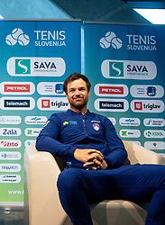 Blaz Kavcic during press conference of Slovenian Tennis Men Team before Davis Cup against Pakistan, on February 27, 2020 in Kristalna palaca, Ljubljana, Slovenia. Photo by Vid Ponikvar / Sportida