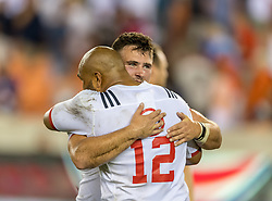 June 16, 2018 - Houston, Texas, US - USA Men's Rugby Team centre Paul Lasike (12) and USA Men's Rugby Team No.8 Cam Dolan (8) celebrate their win during the Emirates Summer Series 2018 match between USA Men's Team vs Scotland Men's Team at BBVA Compass Stadium, Houston, Texas USA beat Scotland 30-29 (Credit Image: © Maria Lysaker via ZUMA Wire)