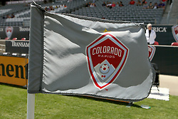 April 29, 2018 - Commerce City, Colorado - Wind blows hard, standing a corner marker flag straight out ahead of the start of action in the MLS soccer game between Orlando City SC and the Colorado Rapids at Dick's Sporting Goods Park in Commerce City, Colorado (Credit Image: © Carl Auer via ZUMA Wire)
