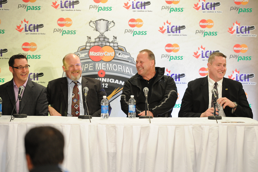 The meet the coaches media conference at the 2012 MasterCard Memorial Cup in Shawinigan, Quebec. Photo by Aaron Bell/CHL Images