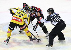 31.01.2012, Albert Schultz Halle, Wien, AUT, EBEL, UPC Vienna Capitals vs HC Orli Znojmo, im Bild Marcel Rodman, (UPC Vienna Capitals, #22) und Radek Haman, (HC Orli Znojmo, #17) // during the icehockey match of EBEL between UPC Vienna Capitals (AUT) and HC Orli Znojmo (CZE) at Albert Schultz Halle, Vienna, Austria on 31/01/2012,  EXPA Pictures © 2012, PhotoCredit: EXPA/ T. Haumer