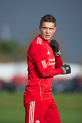 LIVERPOOL, ENGLAND - Saturday, January 21, 2012: Liverpool's Kristoffer Peterson in action against Manchester City during the FA Premier League Academy match at the Kirkby Academy. (Pic by David Rawcliffe/Propaganda)