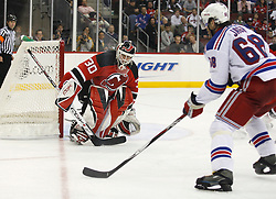November 14, 2007; Newark, NJ, USA;  New Jersey Devils goalie Martin Brodeur (30) watches New York Rangers right wing Jaromir Jagr (68) skate around his goal during the third period at the Prudential Center in Newark, NJ.