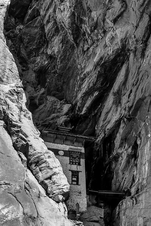 Monastery hidden in the mountain, Bhutan
