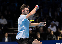 Tennis - 2017 Nitto ATP Finals at The O2 - Day Five<br /> <br /> Group Boris Becker Singles: Alexander Zverev (Germany) Vs Jack Sock (United States)<br /> <br /> Jack Sock (United States) with a forehand return of serve at the O2 Arena<br /> <br /> COLORSPORT/DANIEL BEARHAM