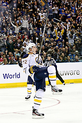 08.10.2011, o2-World Berlin, GER, NHL, Buffalo Sabres vs Los Angeles Kings im Bild Luke Adam (Buffalo Sabres #72) jubelt nach dem 2:0 Tor  // during the game  Buffalo Sabres vs Los Angeles Kings on 2011/10/08, o2-World Berlin, Germany. EXPA Pictures © 2011, PhotoCredit: EXPA/ nph/  Hammes       ****** out of GER / CRO  / BEL ******